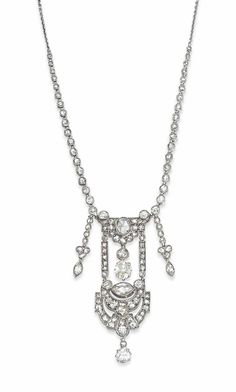 AN EARLY 20TH CENTURY DIAMOND PENDANT NECKLACE -  The articulated openwork panel composed of a series of arching motifs, entirely millegrain-set with vari-sized rose-cut diamonds together with old-cut diamond drop accents, suspended from a graduated rose-cut diamond collet neckchain, with fine belcher-link back section, circa 1915