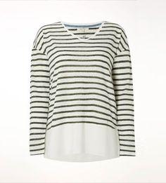Womens Nazelle Stripe Linen Jersey Tee, SPINACH GREEN -