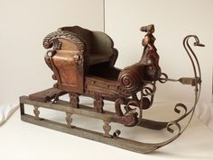 FREE WORLDWIDE SHIPPING!!! This is your chance now to own this Antique Children's sleigh sled wooden hand carved hand painted. It will look great in your home this Christmas! Don't miss out on it!