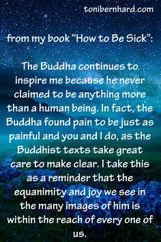 """""""The Buddha never claimed to be anything more than a human being. He found pain to be just as painful as you and I do."""" (From """"How to Be Sick"""")"""