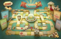 Corporate Treasury - Board game made for Tenaris. 1st Birthday Games, Birthday Games For Adults, Christmas Games For Adults, Game Design, Web Design, Graphic Design, Old Board Games, Vintage Board Games, Diy Games