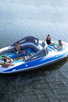 This Inflatable Boat Is Too Big For the Pool, but It's Just the Right Amount of Extra Inflatable Island, Inflatable Boat, Base Nautique, Lake Floats, Lake Toys, Cool Pool Floats, Boat Dock, Cool Pools, Lake Life