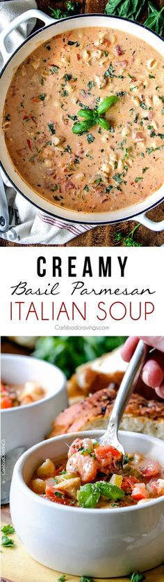 Creamy Basil Parmesa Creamy Basil Parmesan Italian Soup tastes better than any restaurant soup at a fraction of the price! Super easy seasoned to perfection bursting with tender chicken tomatoes carrots celery and macaroni enveloped by creamy Parmesan. Bouillabaisse Rezept, Sopas Low Carb, I Love Food, Good Food, Italian Soup Recipes, Best Italian Dishes, Italian Vegetable Soup, Italian Chicken Soup, Creamy Soup Recipes