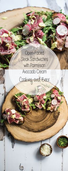 Open-Faced Steak Sandwiches with Parmesan Avocado Cream - Cooking and BeerCooking and Beer Open-Faced Steak Sandwiches with Parmesan Avocado Cream are the perfect appetizer or quick lunch recipe. Quick Lunch Recipes, Easy Appetizer Recipes, Easy Dinner Recipes, Appetizers, Appetizer Ideas, Summer Recipes, Delicious Recipes, Healthy Recipes, Open Sandwich Recipe