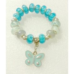 Ice blue butterfly stretch braclet