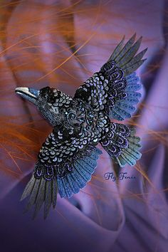 """Купить брошь - птица """"Ворон. Вестник"""" - черный, птица, на платье, брошка, вечернее украшение, вечернее"""