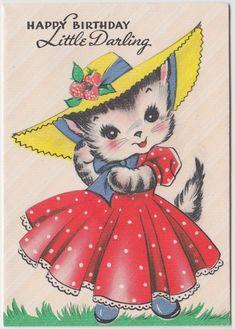 Vintage Greeting Card Cat Wearing Hat Gibson 1940s Cute J910   eBay