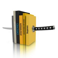 A set of bookends shaped like a Katana sword  Bookends with hidden brackets- Plastic Blade/handle ends create optical illusion $24