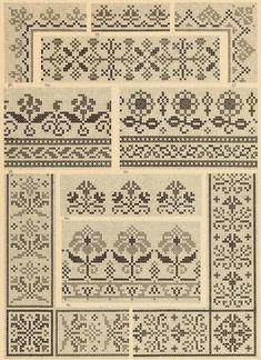 ľudová krížiková výšivka: výšivka rôzne vzory