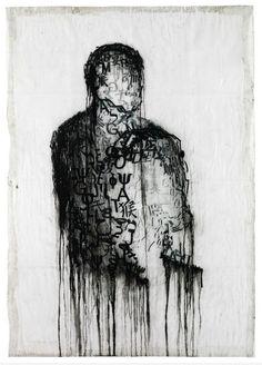 "Jaume Plensa, ""L'escriptor Empresonat""(""The Imprisoned Writer""), Mixed Media on Paper, 2008"