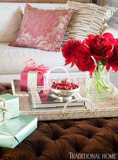 Holiday décor can be as easy a pretty bowl of festive cranberries. - Traditional Home® / Photo: Emily Minton Redfield