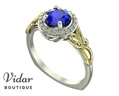 Flower Engagement Ring, Unique Halo Engagement Ring, Two Tone White Yellow Gold Blue Sapphire Ring By Vidar Botique, Leaves Ring, Unique Two Tone Gold Engagement Ring, Unique Sapphire Engagement Ring