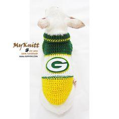 Green Bay Packers Dog Jerseys Handmade Crocheted NFL Pet Costume Super Bowl. #myknitt #Packers #GreenBayPackers #SuperBowl #NFL #Dog #Pet #Crochet #DIY #Handmade