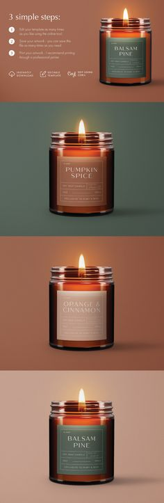 Take your candle products to the next level with these editable candle label designs OR gift your family and friends a personalized hand made candle this Christmas season! Use our beautiful modern festive fall inspired colour pallete or choose your own background color. No need for photoshop, simply follow the instructions and edit using the provided link. These modern Christmas candle labels are the perfect way to get festive this season! Candle Packaging, Candle Labels, Packaging Ideas, Candle Jars, Personalized Candles, Personalized Labels, Homemade Candles, Colour Pallete, Christmas Candle