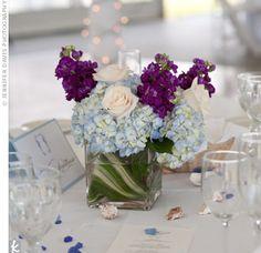 Blue and Purple Centerpieces