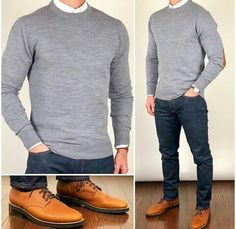 Chris Mehan ( chrismehan ) - Sweater Weather 🌬🌨❄️ Keep it bundled up in warm layers❗️🔥🔥🔥 Do you like this outfit❓ Sweater and oxford shirt: Boots: Grizzly Wheat President Stylish Mens Outfits, Mens Sweater Outfits, Business Casual Outfits, Suit Fashion, Style Fashion, Fashion Hats, Fashion Styles, Fashion Rings, Fashion Ideas