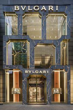 Bvlgari Kuala Lumpur Flagship Store Unveils Dramatic New Facade Retail Facade, Shop Facade, Retail Architecture, Architecture Design, Architecture Interiors, Kuala Lumpur, Facade Design, Exterior Design, Retail Design