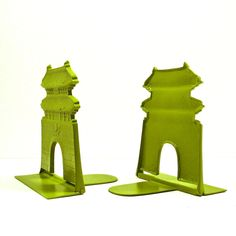 asian bookends, autumn decor, avocado green, sage, architectural, study, home office, book end, upcycled metal, home accents. $26.00, via Etsy.