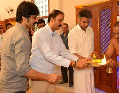 Pawan Kalyan this morning attended the pooja for the opening of his forthcoming film produced by Sharrath Marar under the Northstar Entertainment Banner.