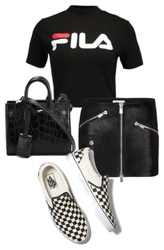 """Untitled #23411"" by florencia95 ❤ liked on Polyvore featuring Fila, Anine Bing, Yves Saint Laurent and Vans"