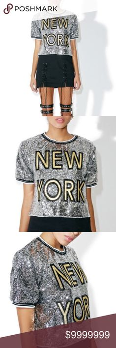 """Sequined New York tee This chic cropped tee features a boxy fit, silver sequined and a shimmery golden embroidered patch on the chest reading 'NEW YORK 100% Polyester OS-top of collar to bottom approx 17"""" arm pit to arm pit approx 18"""" small amount of stretch Tops Tees - Short Sleeve"""