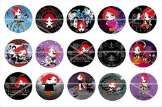 RUBY GLOOM bottle cap  images  1 inch circles by theglitzygypzy, $2.00