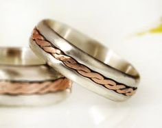 Wedding Rings Set of 2, His and hers, Matching wedding bands, Braided Copper Silver ring, Copper Rings, Dainty Ring, two tone ring, RG 1139