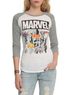 Marvel Avengers Group Girls Raglan - Visit to grab an amazing super hero shirt now on sale!