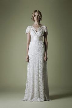 Tatham Lace over Slipper Satin vintage wedding dress | Decades Silk Collection