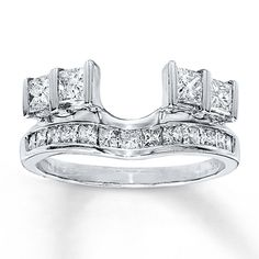 I like the double princesses on the side. Only in gold.  Diamond Enhancer Ring 1 ct tw Princess-cut 14K White Gold