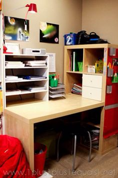 kallax shelving dresser desk combination made from ikea kallax series home play room. Black Bedroom Furniture Sets. Home Design Ideas