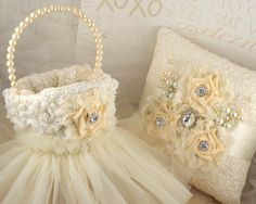 Bridal Ring Bearer Pillow and Flower Girl Basket in Cream Lace, Ivory with Crystals, Chiffon Flowers, Jewels and Pearls. $185.00, via Etsy.