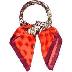 Pre-owned Salvatore Ferragamo Silk Floral Scarf ($95) ❤ liked on Polyvore featuring accessories, scarves, pattern prints, orange silk scarves, orange scarves, silk shawl, orange shawl and colorful shawl