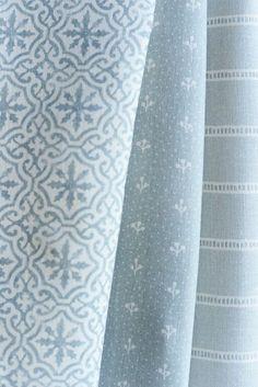 Little Sprigs ~ Bamburgh Blue Ivory Linen ~ £54 - Peony & Sage
