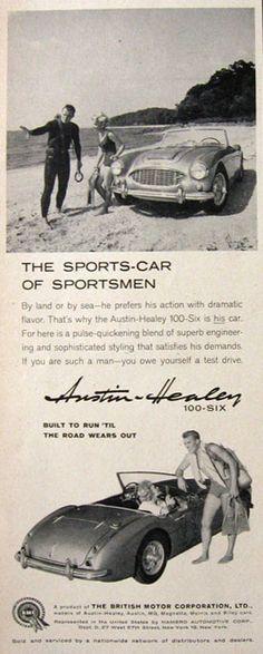 1959 Vintage Austin Healey 100-Six Ad ~ Sports Car of Sportsmen