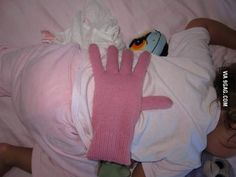 Bean filled glove: for when you want your kids to feel loved, but you're too tired