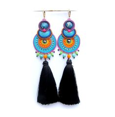 Long Colorful Tassel Earrings Handmade by GiSoutacheJewelry