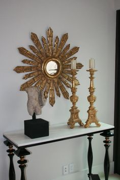 Vignette by @ebanistacollect featuring Brunati Candlesticks, Le Buret Mirror, and Roman Torso for Newport Harbor Home & Garden Tour