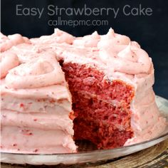 Easy Strawberry Cake recipe is a great dessert for potluck, always a crowd-favorite. The frosting and cake is full of fresh strawberries. Easy desserts (Dessert Recipes For A Crowd) Fresh Strawberry Cake, Strawberry Cake Recipes, Strawberry Frosting, Strawberry Cake From Scratch, Homemade Strawberry Cake, Strawberry Puree, Edgars Strawberry Cake Recipe, Strawberry Cream Cheese Icing Recipe, Recipes With Frozen Strawberries