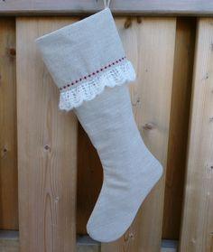 Linen Stocking  Christmas Stocking  Ruffled  Stocking by GabryRoad, $24.00
