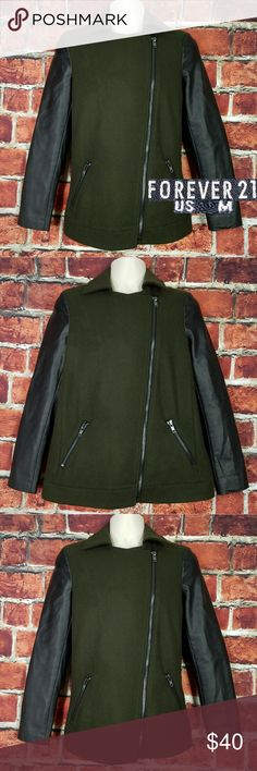 Forever 21 Men Moto Jacket Size M Forever 21 Men Moto Jacket Size M Medium Wool Faux Leather Sleeves Green Black  Condition: Great Photos are best description  Size: M Across Chest: 20 Length: 26 Sleeve: 24 Forever 21 Jackets & Coats