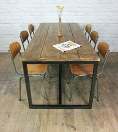 Vintage industrial steel rustic factory loft farm dining table