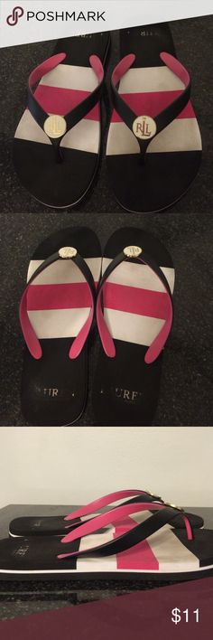 $7 FLASH SALE!💋 Ralph Lauren Flip Flops 💋 Wore them for one weekend but they were too big! Still in good condition. Cannot accept trades on this one. Bundle 3 items and save 15%! 💋 Ralph Lauren Shoes Sandals