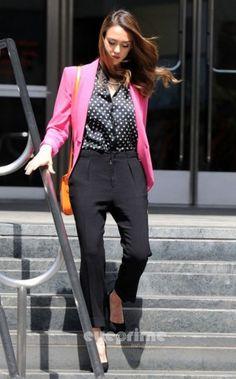 Jessica Alba wearing Ralph Lauren Collection Saddle Medium Leather Shoulder Bag in Orange.