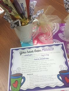 Yep, that's right. A few teachers got mugged this week. Mugged is a good thing. It's a fun thing too. Here's how it works. I started th. Volunteer Appreciation, Teacher Appreciation Week, Teacher Gifts, Principal Appreciation, Assistant Principal, Volunteer Gifts, Teacher Morale, Staff Morale, Just In Case
