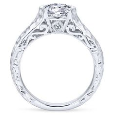 14k White Gold Eclipse Style  Solitaire Engagement Ring