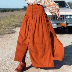 Foridol high waist slit long skirt women 2020 autumn button maxi split – cuteshoeswear skirt dress outfits cute skirt outfits dress skirts #skirtshirt #skirtlace #skirtfashion #womensskirtsoutfits Cute Skirt Outfits, Cute Skirts, Dress Outfits, Orange Skirt Outfit, Boho Festival Fashion, Long Skirts For Women, Cheap Skirts, Cotton Skirt, Elegant Woman