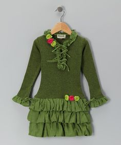 Olive Ruffle Drop-Waist Dress - Toddler & Girls
