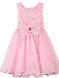 Girl's Pink Floral Tulle Bow Party Pageant Bridesmaid Princess Wedding Child Clothing Dresses
