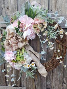 Spring Wreath Year Round Wreath Pink Wreath Pastel Decor